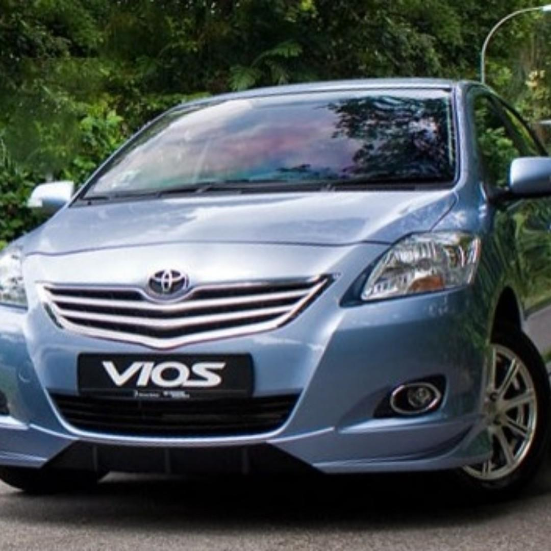 Toyota Vios 2007 - 2013 for Rent. Fuel efficiency 1.5 L Engine.