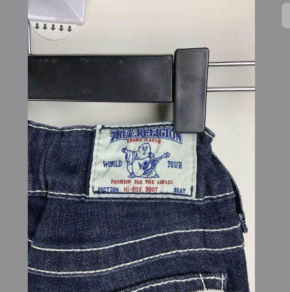 True Religion 25 dark blue denim Hi Rise Boot jeans pants elastic waist cowboy