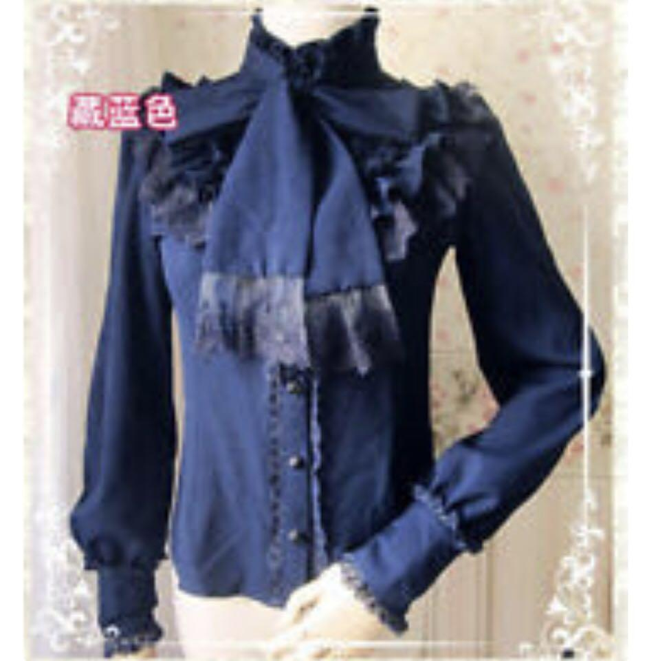 Victorian button up blouse with bow (maroon/navy)