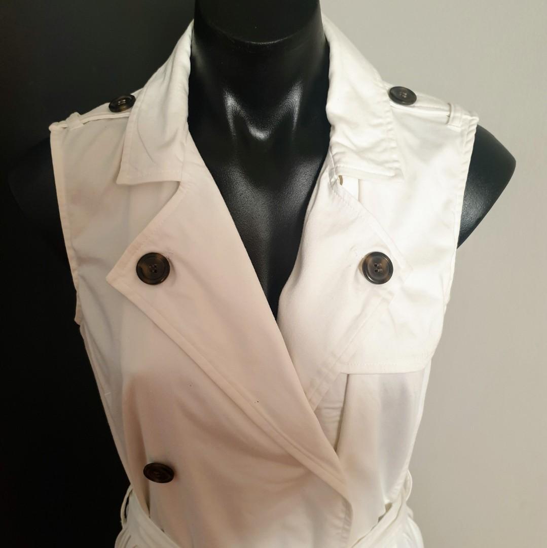 Women's size L Stunning white tuxedo midi dress with tie - AS NEW