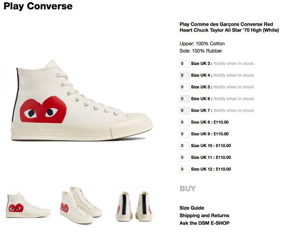 cdg x converse size guide,Free Shipping