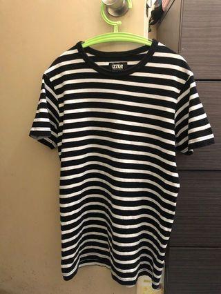 Izzue 黑白橫間衫 -size:2