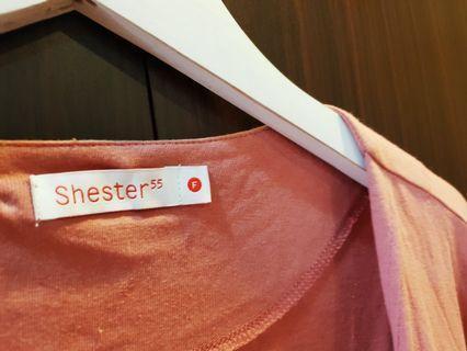 Sheater55 藕粉泡泡袖罩衫