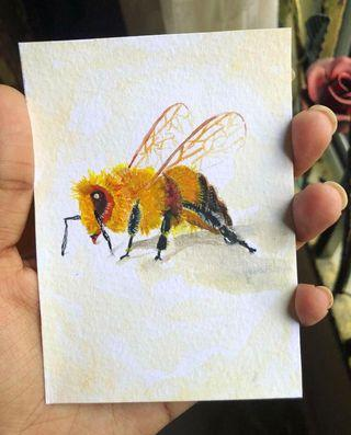 Bee 🐝 watercolour painting