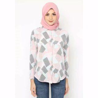 Kemeja motif tree blouse pakaian wanita