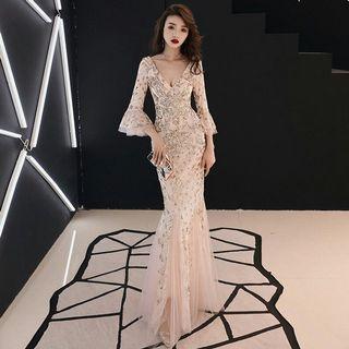 PRE ORDER🌠Women V Neck Sequins Evening Gown Maxi Dress Long Dress