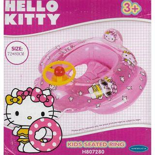 (Free Delivery) Mesuca Sports Sanrio Hello Kitty Pink Inflatable Baby Float Swim Ring Seat with Steering Wheel