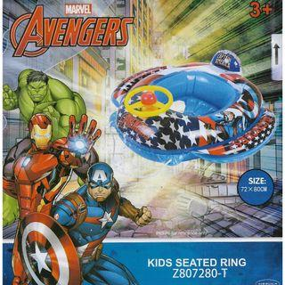 (Free Delivery) Mesuca Sports Marvel Superheroes Avengers Captain America Inflatable Baby Float Swim Ring Seat with Steering Wheel