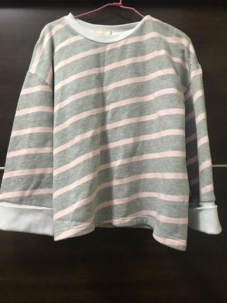 條紋寬袖厚T