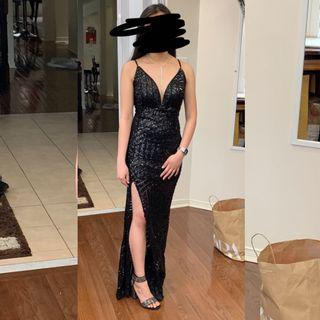 XS- Black Sequin Prom Dress with Side Slit