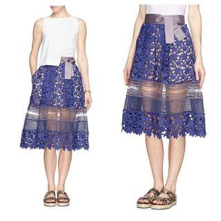 SELF PORTRAIT Blue Liliana Lace Skirt Size 2