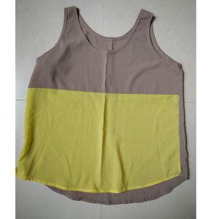 NEW French style stylish chiffon grey-yellow top