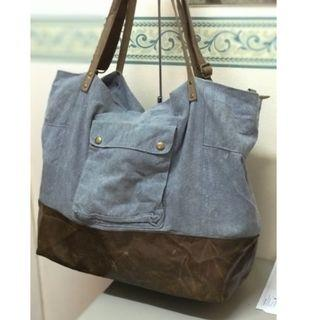 Mossimo semi leather hand bag leather + denim