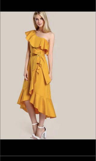 Mustard ruffle hem dress 荷葉邊單肩連身裙