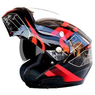 Gloss Black with Red and White Designs Full Face Flip Up Motorcycle Bike Modular Helmet with Double Inner Lens
