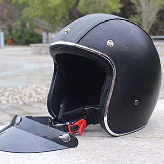 Black Leather with Silver Lining Motorcycle Helmet Open Face Three Button Snap Retro Vintage Vespa Scooter Cafe Racer Motorbike Bike Leather Gloss Old School