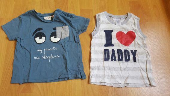 Zara baby& Mom's heart boys shirt - 1 year old (bundle)