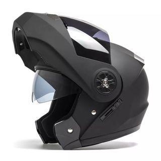 Matte Black Full Face Flip Up Motorcycle Motorbike Bike Modular Helmet with Double Inner Lens