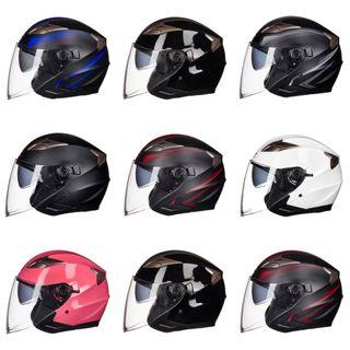 Many Colours/Designs Motorcycle Helmet with Double Inner Lens Open Face Bike