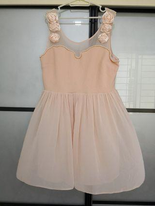 Romantic Light Peach Roses plus size Dress UK18-20