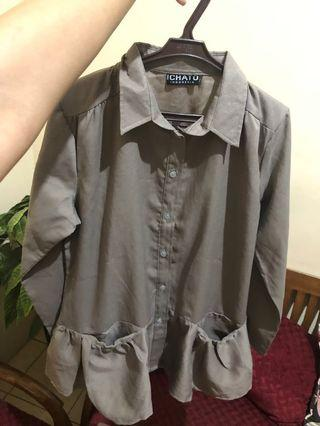 Smoke Grey Tops ( atasan / blouse abu2 )