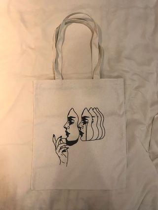 Line drawing canvas tote bag