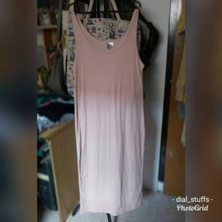 H&M Long Dress / Gaun Panjang bahan Kaos Casual Look / Outer soft pink