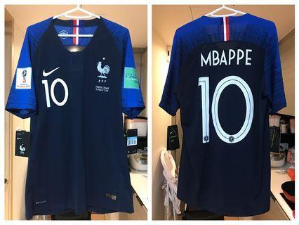 Nike 法國隊 18/19 主場一星 2018世界盃 Vaporknit球員版 球衣fullset連臂章對賽日期 #10 Mbappe麥巴比 M size