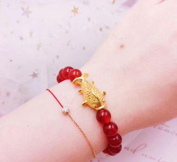 Real 999 pure gold fish 🐟 with red agate bracelet