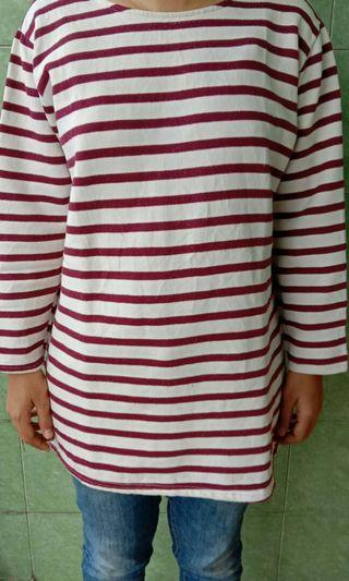 Sweater / long sleeve stripe maroon