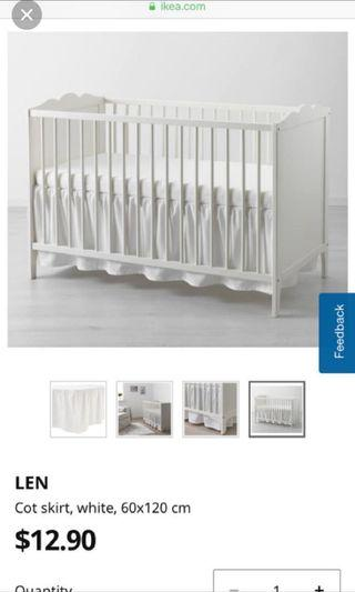 Ikea Baby Cot skirt white