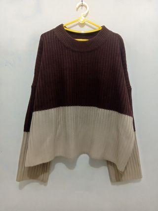 Sweater Knitted Semi Crop Coklat-Krem