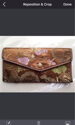 Brown satin oriental Long wallet