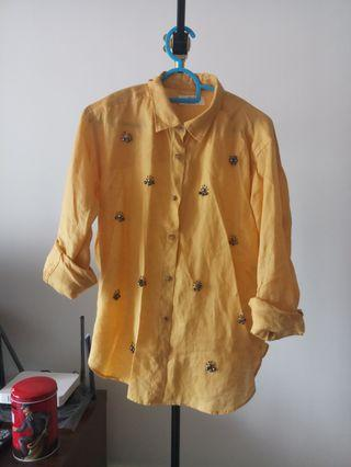 Uniqlo yellow top with beads
