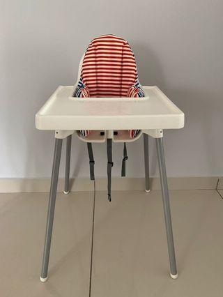 Ikea baby high chair with tray+inflatable cushion