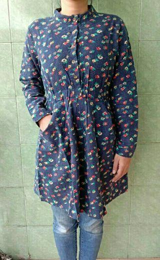 Mididress flower navy