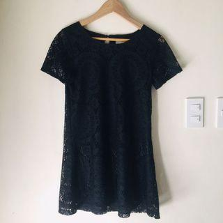 HQ Black Spanish Lace Petite Dress