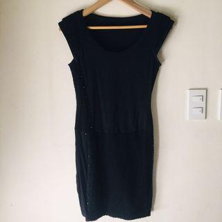 Only Rock Stud Embellished Black Dress