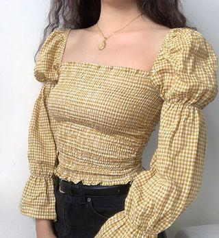 PREORDER Wide retro neck long sleeve top blouse - yellow checkered gingham