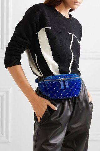 Waist bag Velantino Rockstud blue velvet