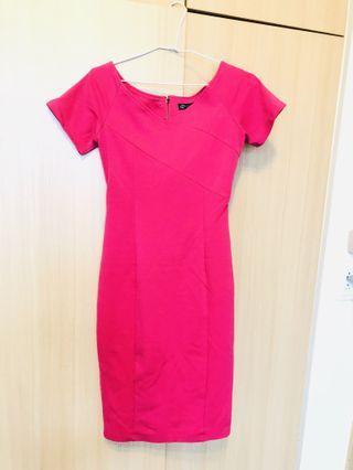 桃色粉紅純棉縮腰連身裙 日本購入