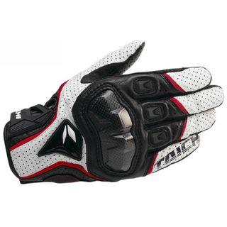 Taichi White Black and Red Motorcycle Riding Gloves Knuckle Guard