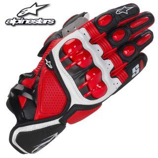 Alpinestar Red and White Motorcycle Riding Racing Gloves