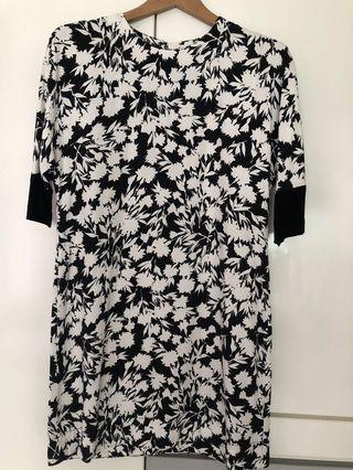 Warehouse Black n White Floral Dress