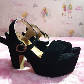 Black Velvet/Suede Platform Heels