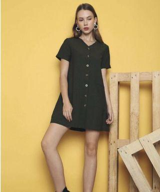 Hollyhoque button down dress (Olive)