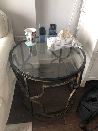 Rustic Gold / Glass Coffee Table