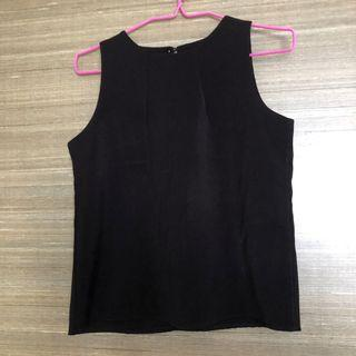 Black Sleeveless Office Top, round neck work blouse #Style