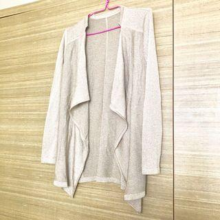 Korean style silver long sleeved cardigan, trendy ruffles, work/office light jacket #Style