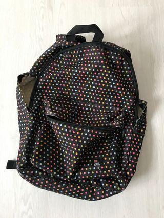 Colourful polka dot bagpack